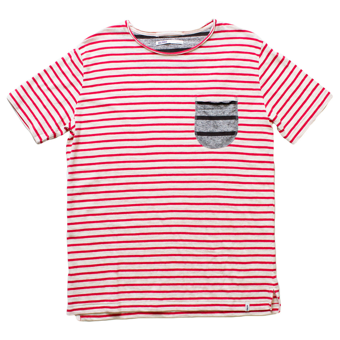 Altru Apparel Red Stripes with contrasting Pocket T-shirt
