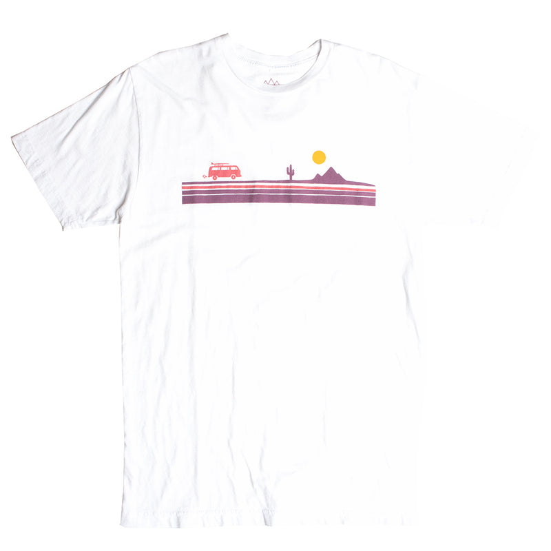 Desert Road Trip Chest Stripe graphic Tees in various colors