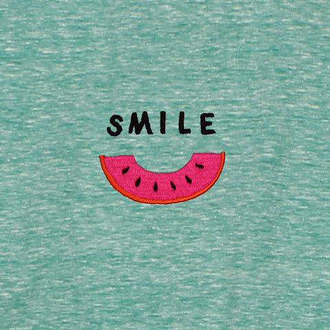 Altru Apparel Smile Watermelon Embroydered T-Shirt