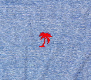 Red Palm Embroidered on Blue Tri-blend Tee by Altru Apparel photo detail