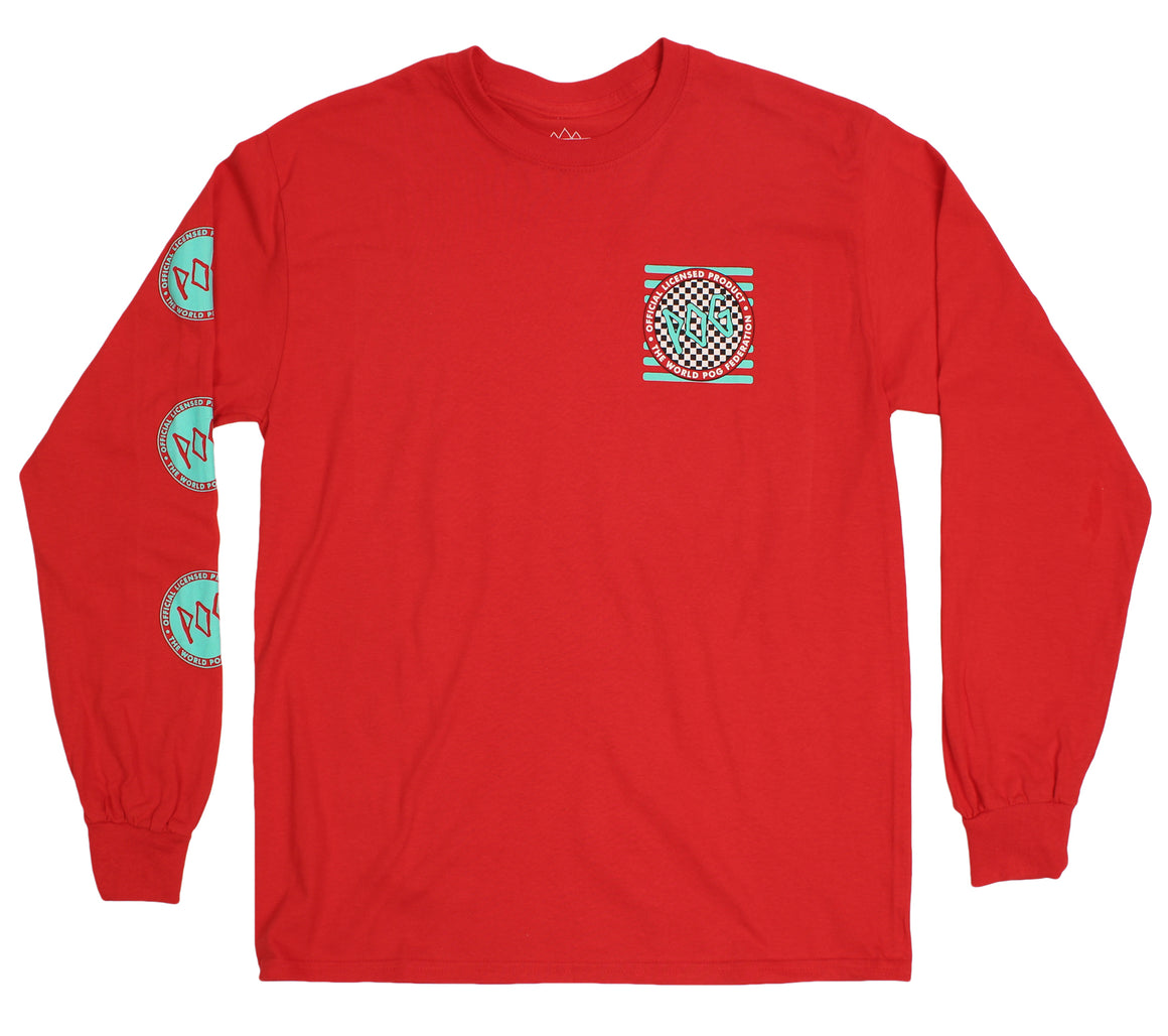 Pogs Checkered  L/S red T-shirt by Altru Apparel