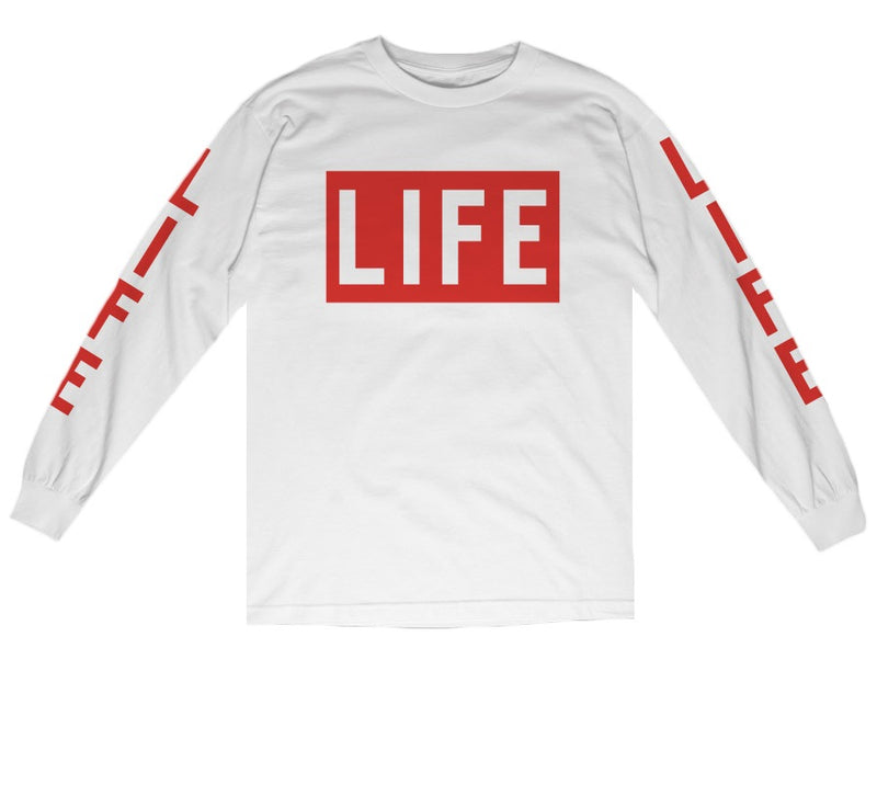 LIFE Logo L/S T-shirt in white by Altru Apparel