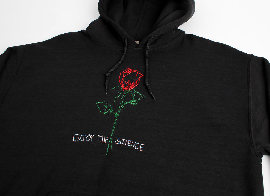 Enjoy the Silence Rose, black embroidered hoodie