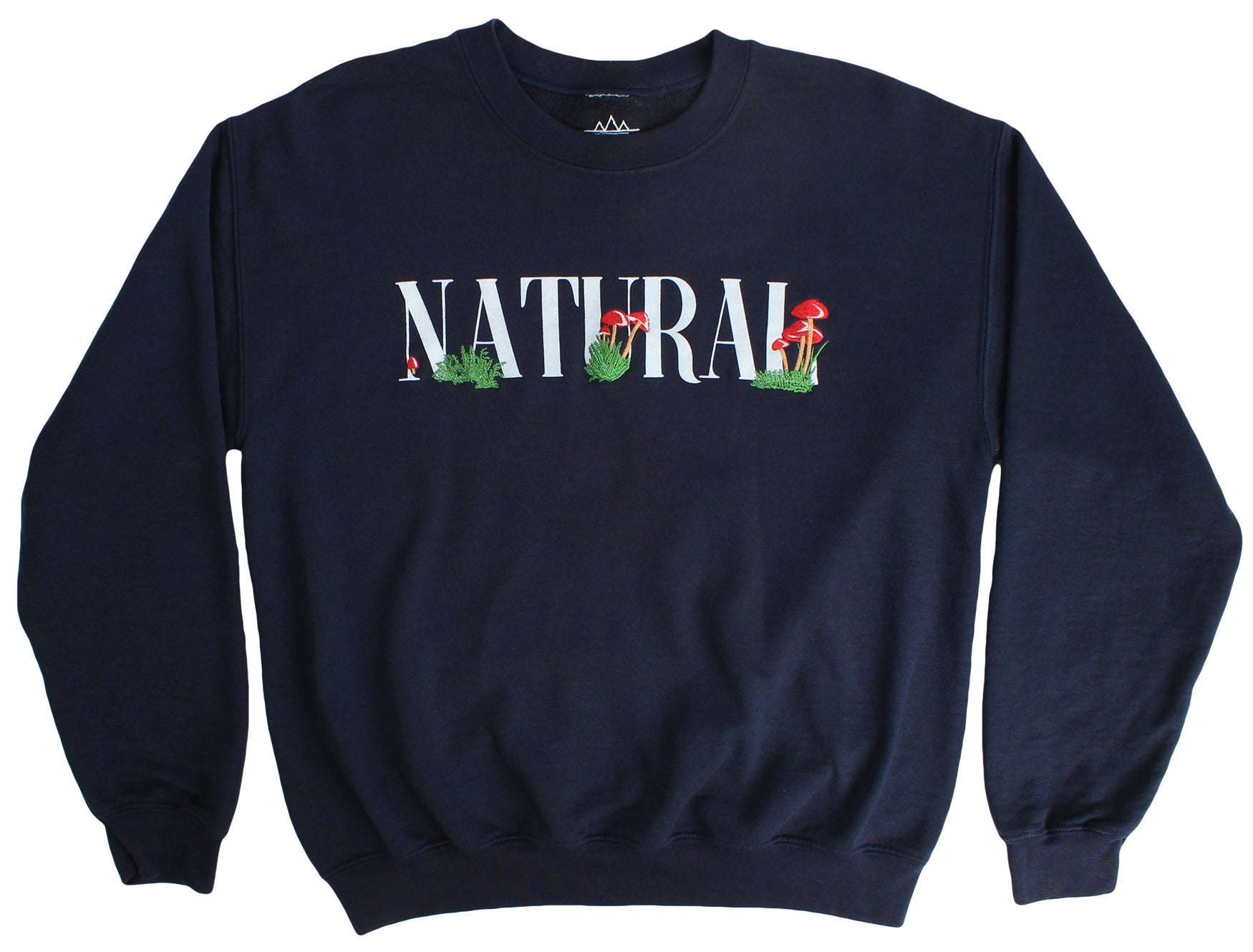 Natural Mushrooms embroidered navy sweatshirt