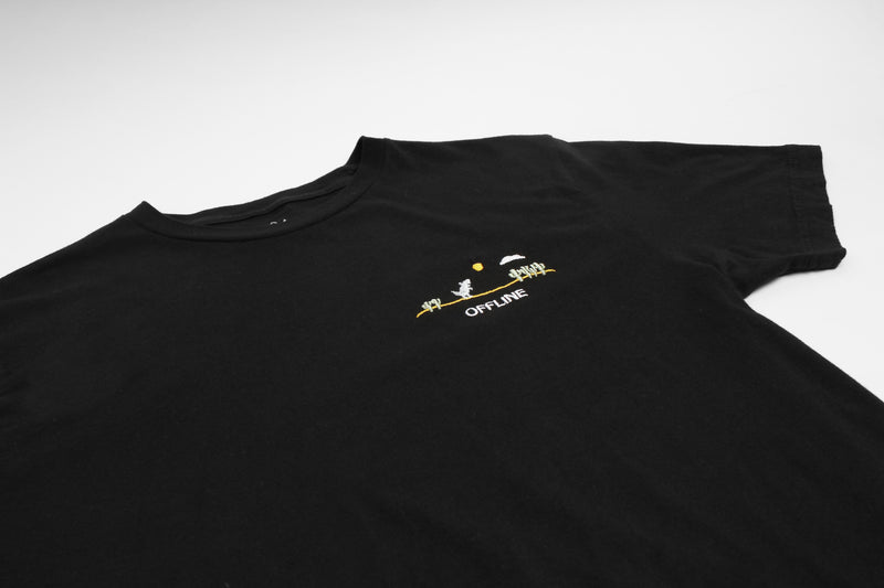 Offline Dino Embroidered black T-shirt by Altru Apparel