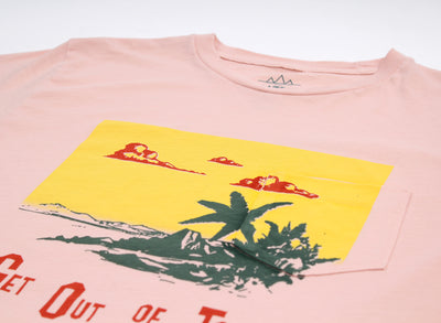 Get Out of Town Pkt Tee with front print. Go on, beat it!