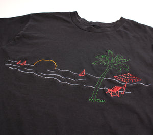Beach Vacation Paradise Embroidered graphic tee by Altru Apparel detail