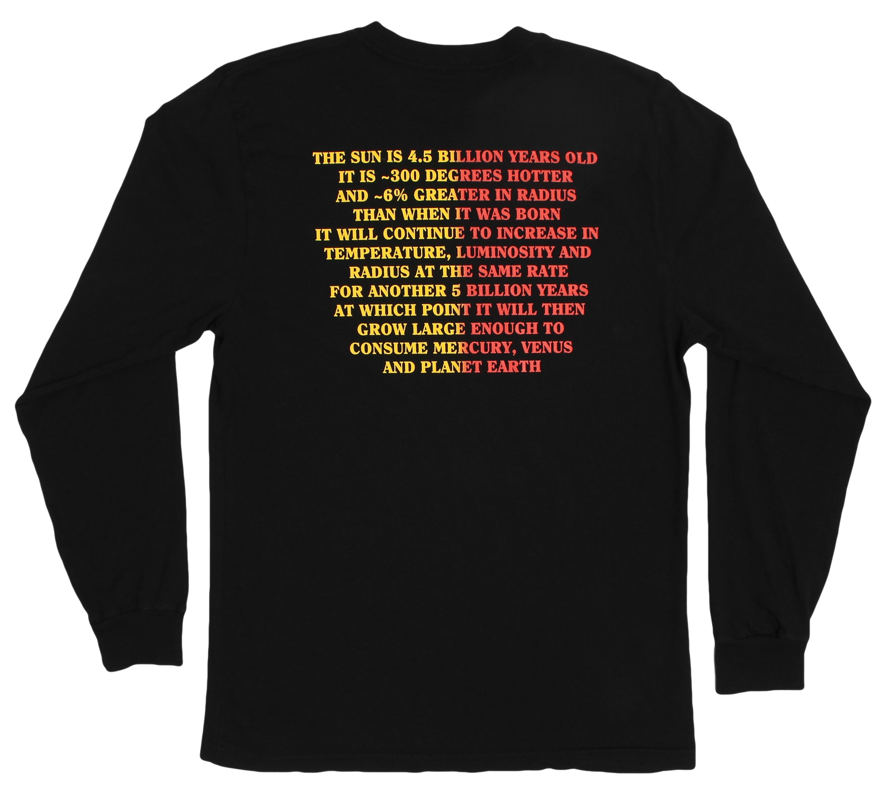 Fun Sun Facts about the sun dying, black long sleeve graphic tee