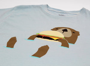 Otter eating a hamburger graphic tee by altru apparel detail