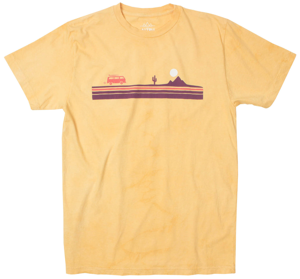Desert Stripe Road Trip yellow cloud dye graphic tee by Altru Apparel