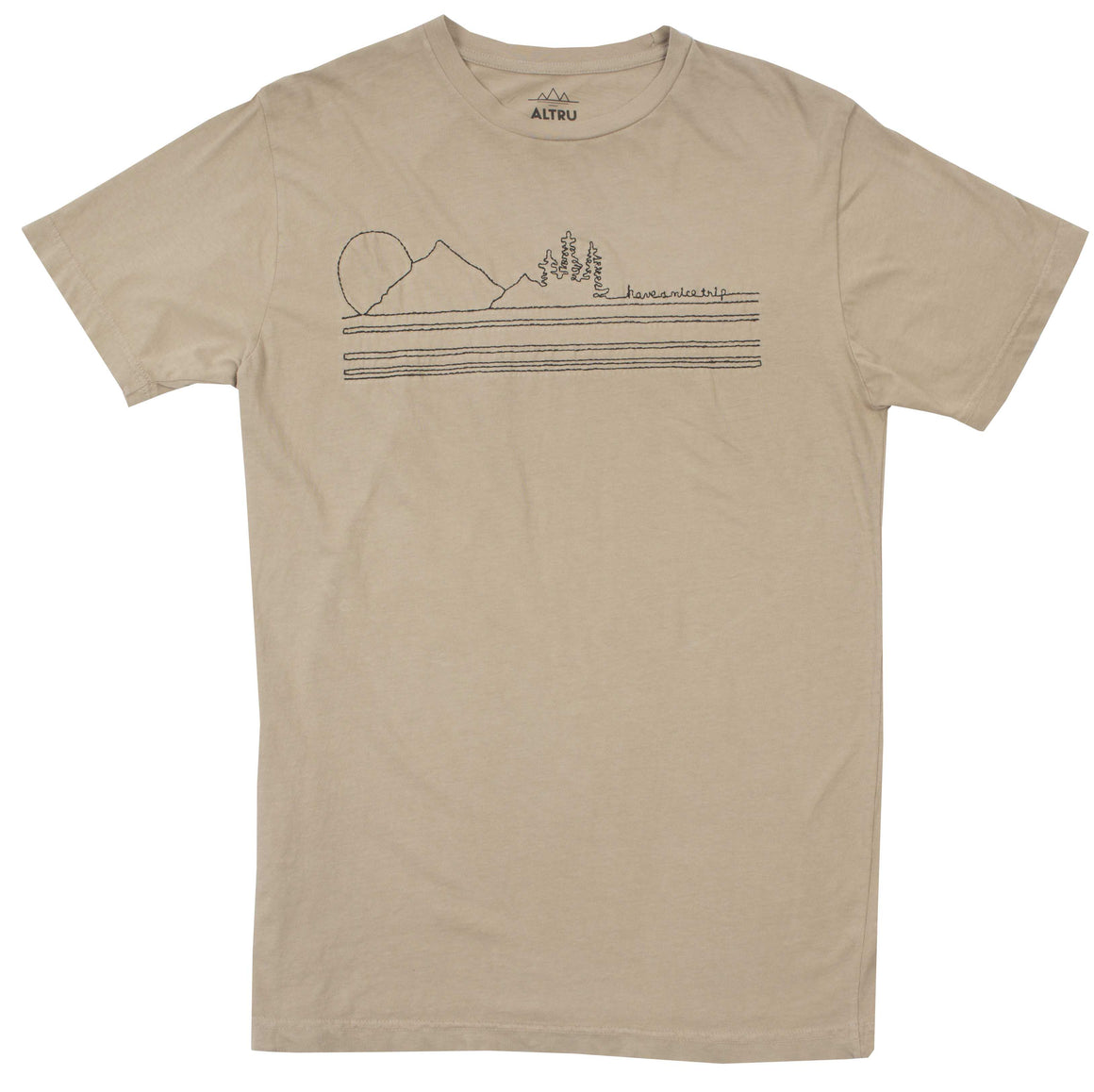 Have a Nice Trip embroidered mens khaki graphic tee by Altru Apparel front image