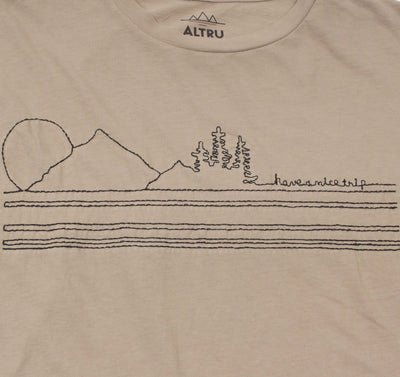 Have a Nice Trip embroidered mens khaki graphic tee by Altru Apparel detail image