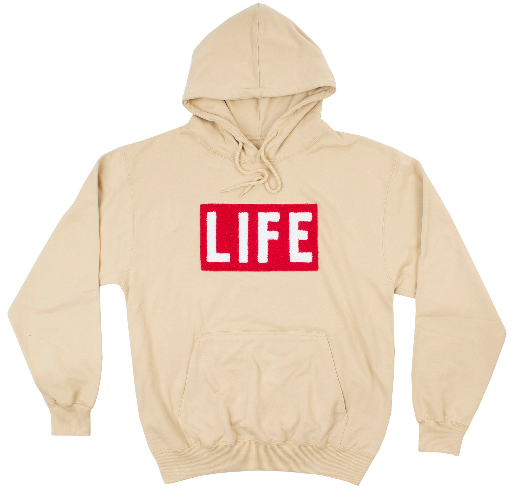 512adfd7ee151d LIFE Chenille Logo patch on men's tan Hoodie by Altru Apparel