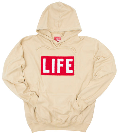 LIFE Chenille Logo patch on men's tan Hoodie by Altru Apparel arms in pocket
