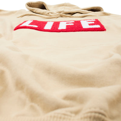 LIFE Chenille Logo patch on men's tan Hoodie by Altru Apparel detail 2
