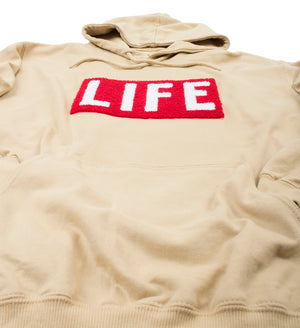 LIFE Chenille Logo patch on men's tan Hoodie by Altru Apparel detail 1