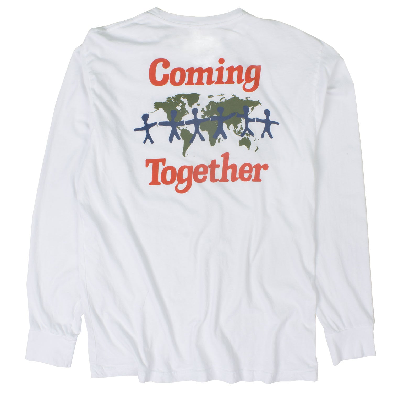 4ddb65d45 Coming Together Lets Talk L/S white front and back printed graphic tee