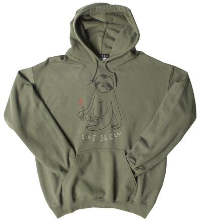 Slow Living Sloth green burnout embroidered pullover hoodie
