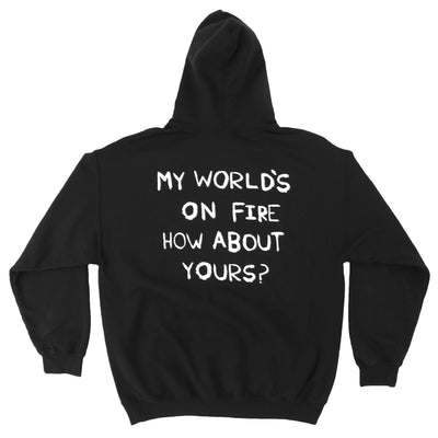 My Worlds On Fire black burnout pullover hoodie
