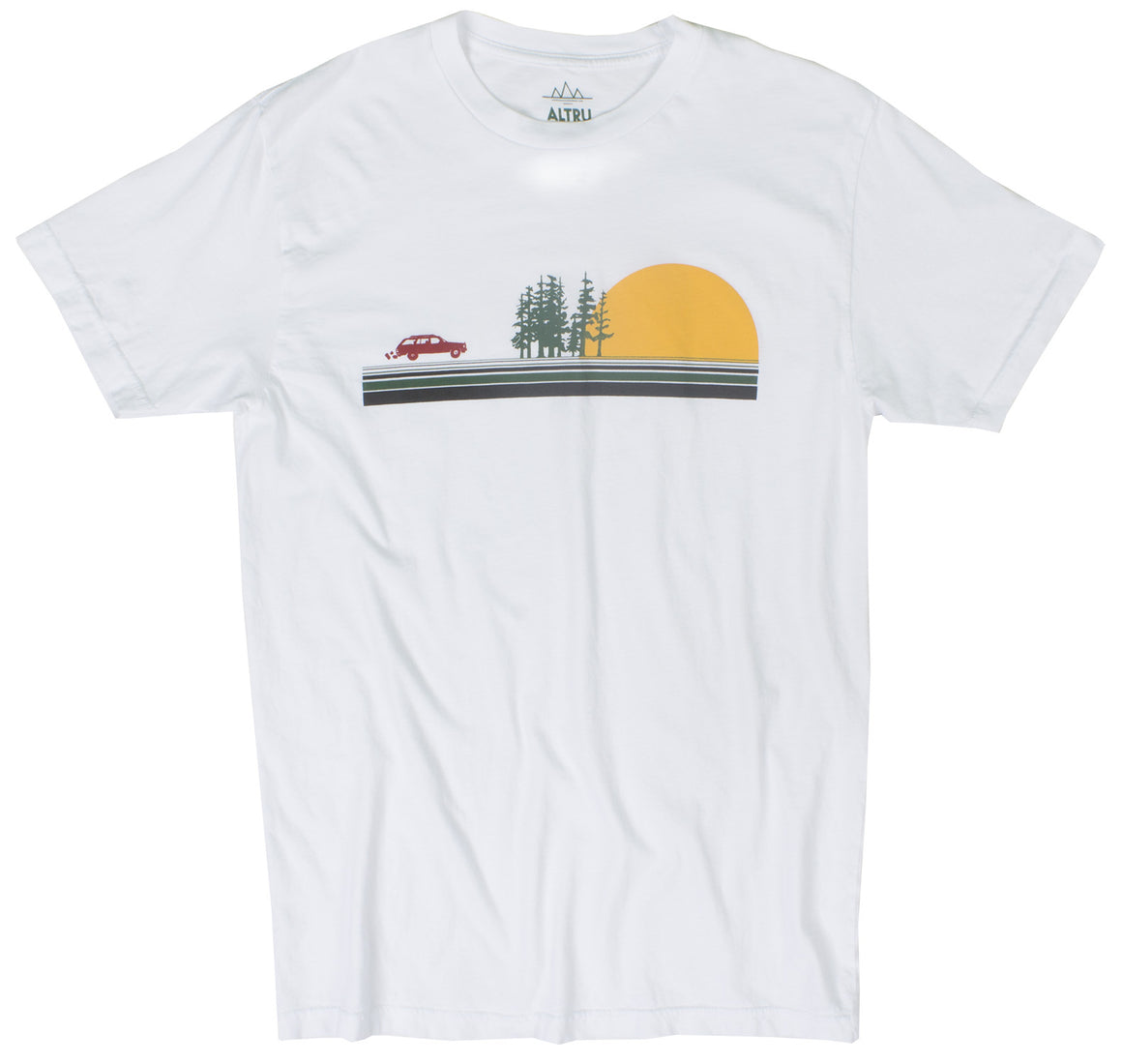 Road Trip Setting Sun Striped white graphic tee