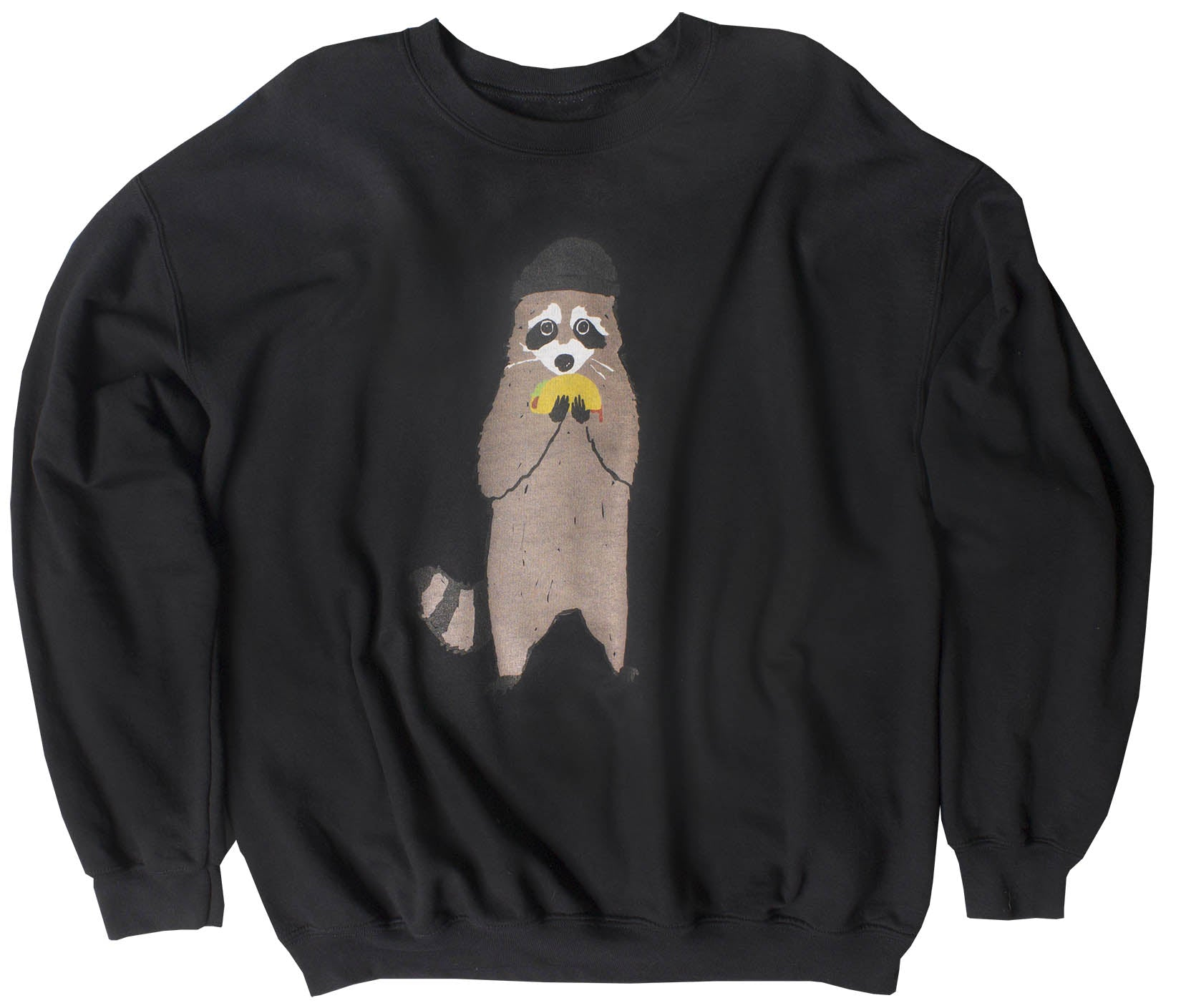 Taco Bandit Raccoon black burnout graphic sweatshirt
