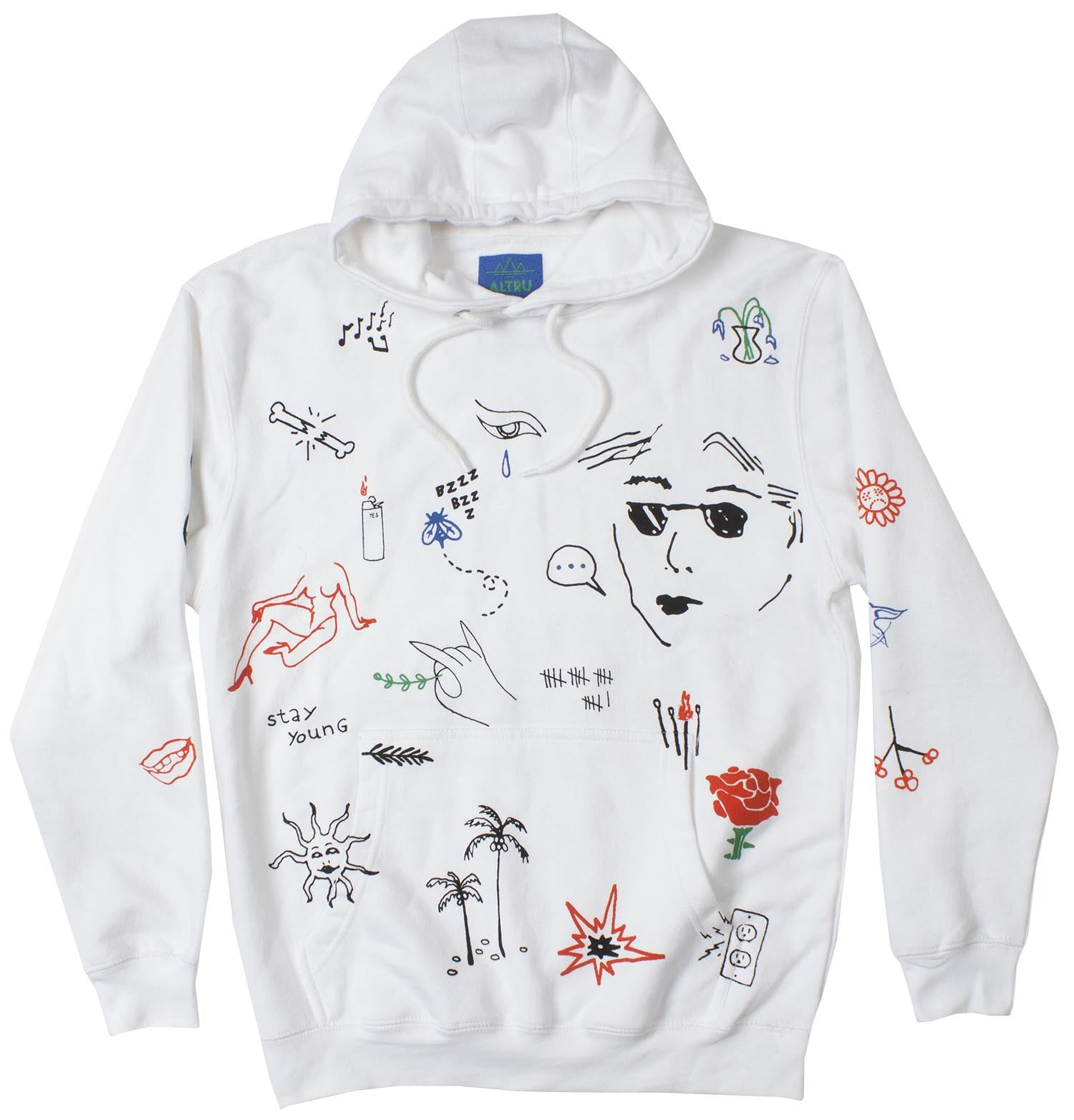 Stick N Poke Art Graphic Hoodie Mens Pullover by Altru Apparel