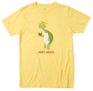 Party Animal Turtle Men's Lemon Graphic Tee by Altru Apparel