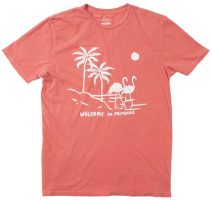 Welcome to Paradise Palm Trees Flamingos Men's Citrus Graphic Tee by Altru Apparel