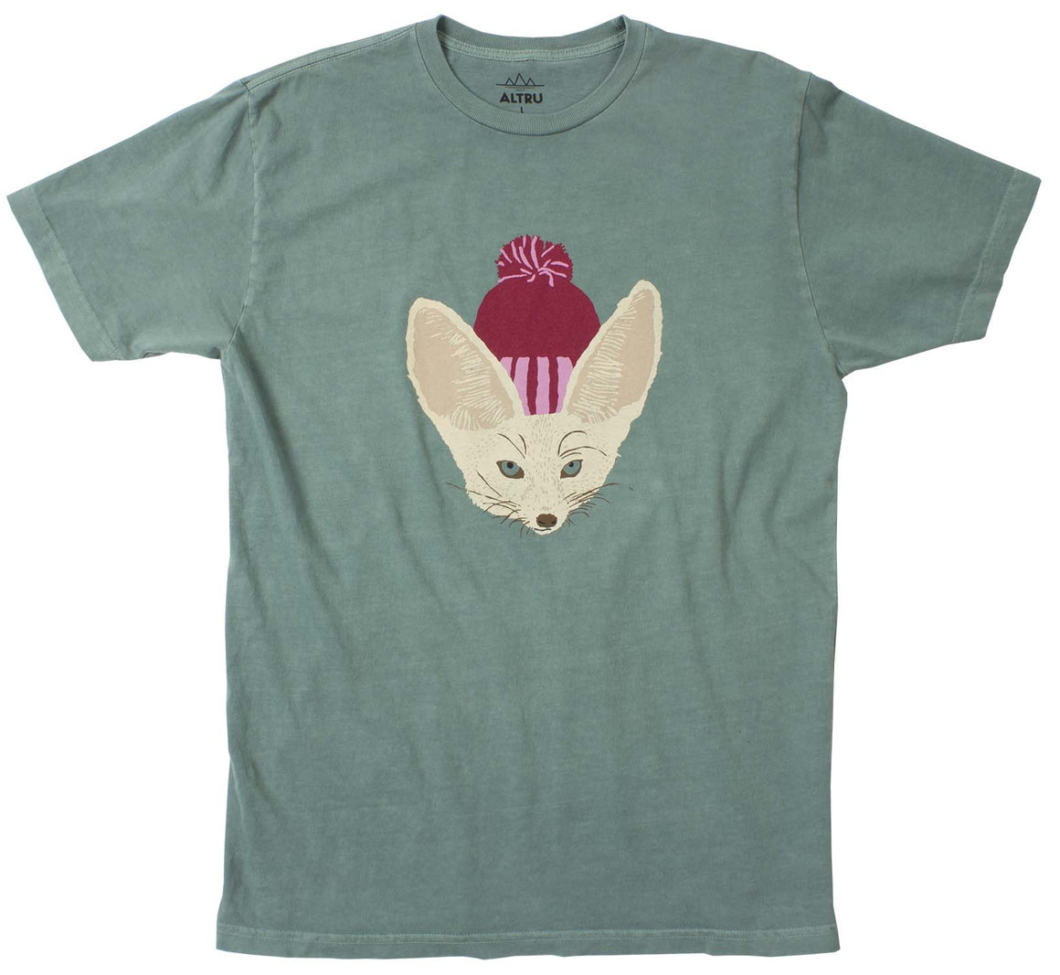 Fox in Hat Men's Emerald Green Graphic Tee by Altru Apparel