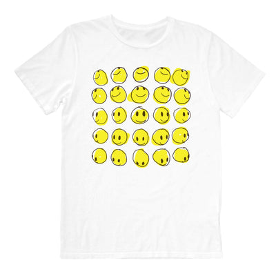 Happy faces in a group on white graphic mens tee front