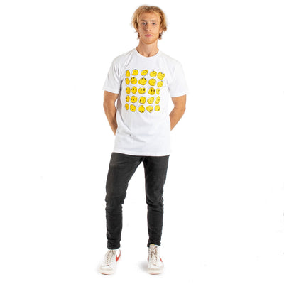Happy faces graphics in a group on front of white t-shirt on a male model side view