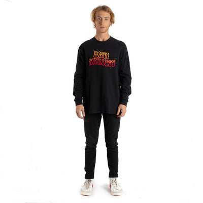 Anti Anxiety Embroidered Long Sleeve mens black graphic tee