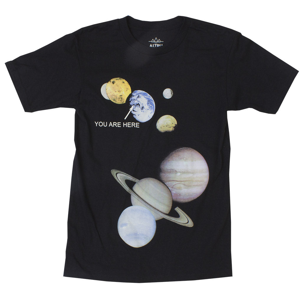 You Are Here solar system locator men's black graphic tee
