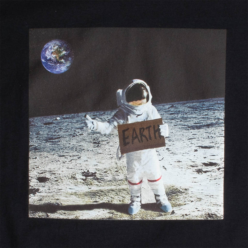 HITCH A RIDE FROM THE MOON MENS BLACK GRAPHIC TEE