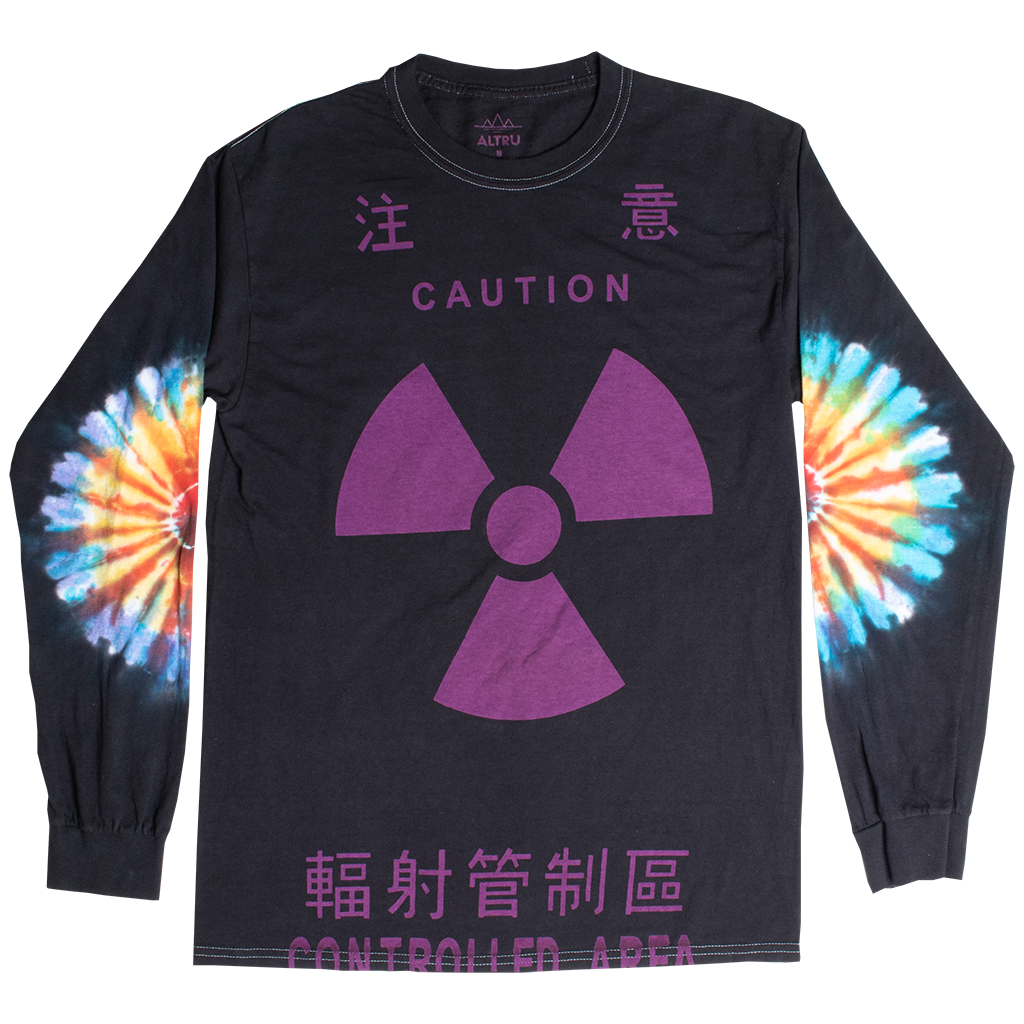 CAUTION TIE DYE LONG SLEEVES MENS BLACK GRAPHIC TEE