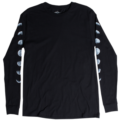 Moon Phases long sleeve black graphic t-shirt