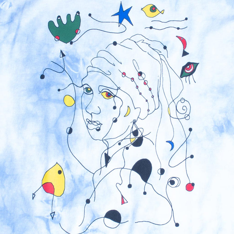 Vermeer, Miro' inspired mashup of girl with pearl earring on cloudy blue graphic tee