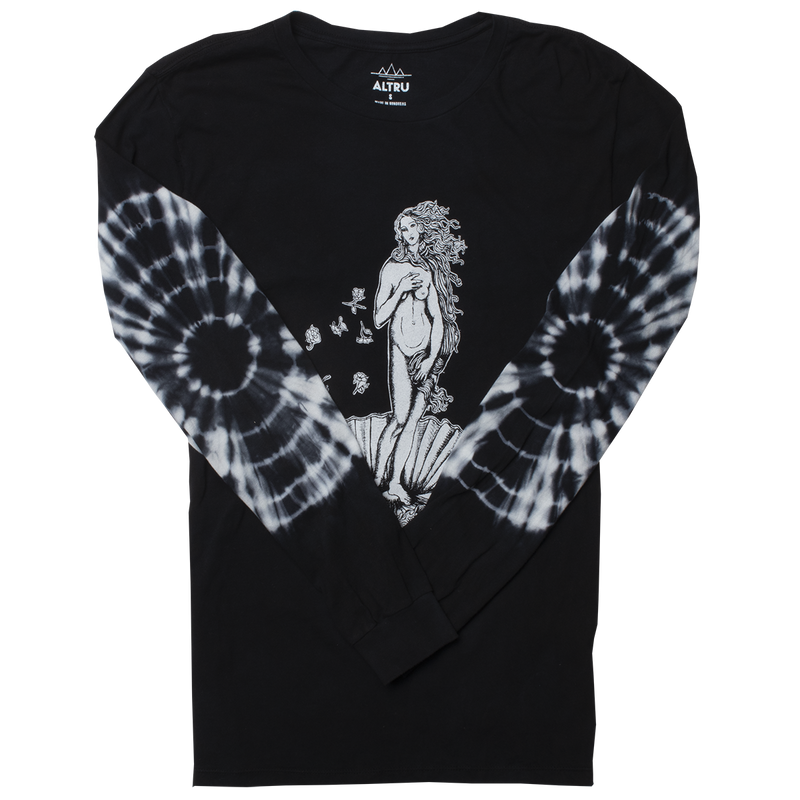 Birth of Venus tie dyed elbows long sleeve black graphic tee