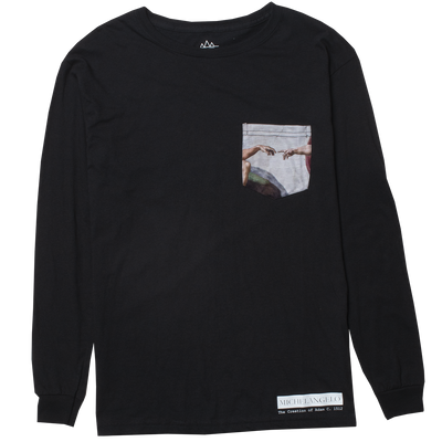 Altru Apparel Michelangelo Creation Of Adam pocket long sleeve graphic tee