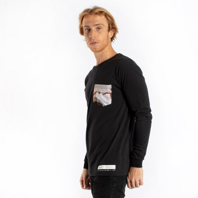 Creation Of Adam Michelangelo's painting with pocket long sleeve graphic tee