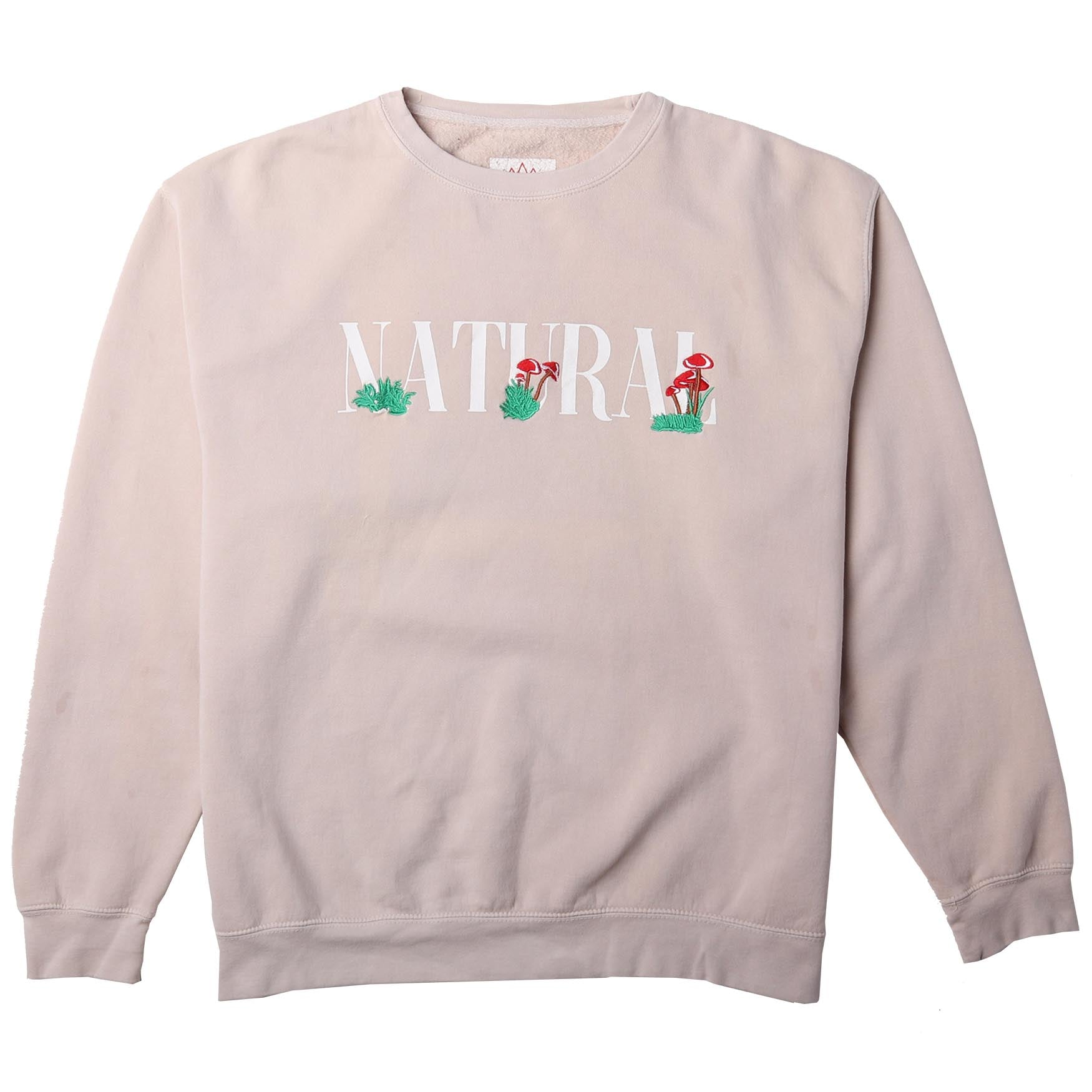 Natural Embroidered Cream Fleece Crewneck Sweatshirt