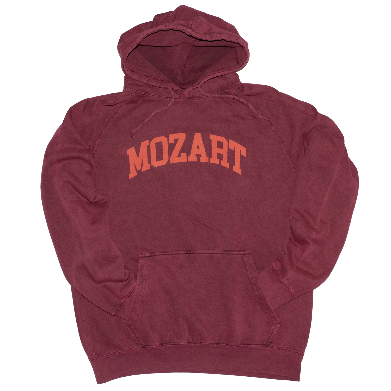 Mozart Garment Dyed Purple Rust Vintage Style Relaxed Fit Mens Hoodie