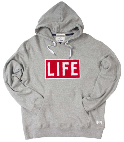 LIFE Chenille logo patch men's pullover grey hoodie