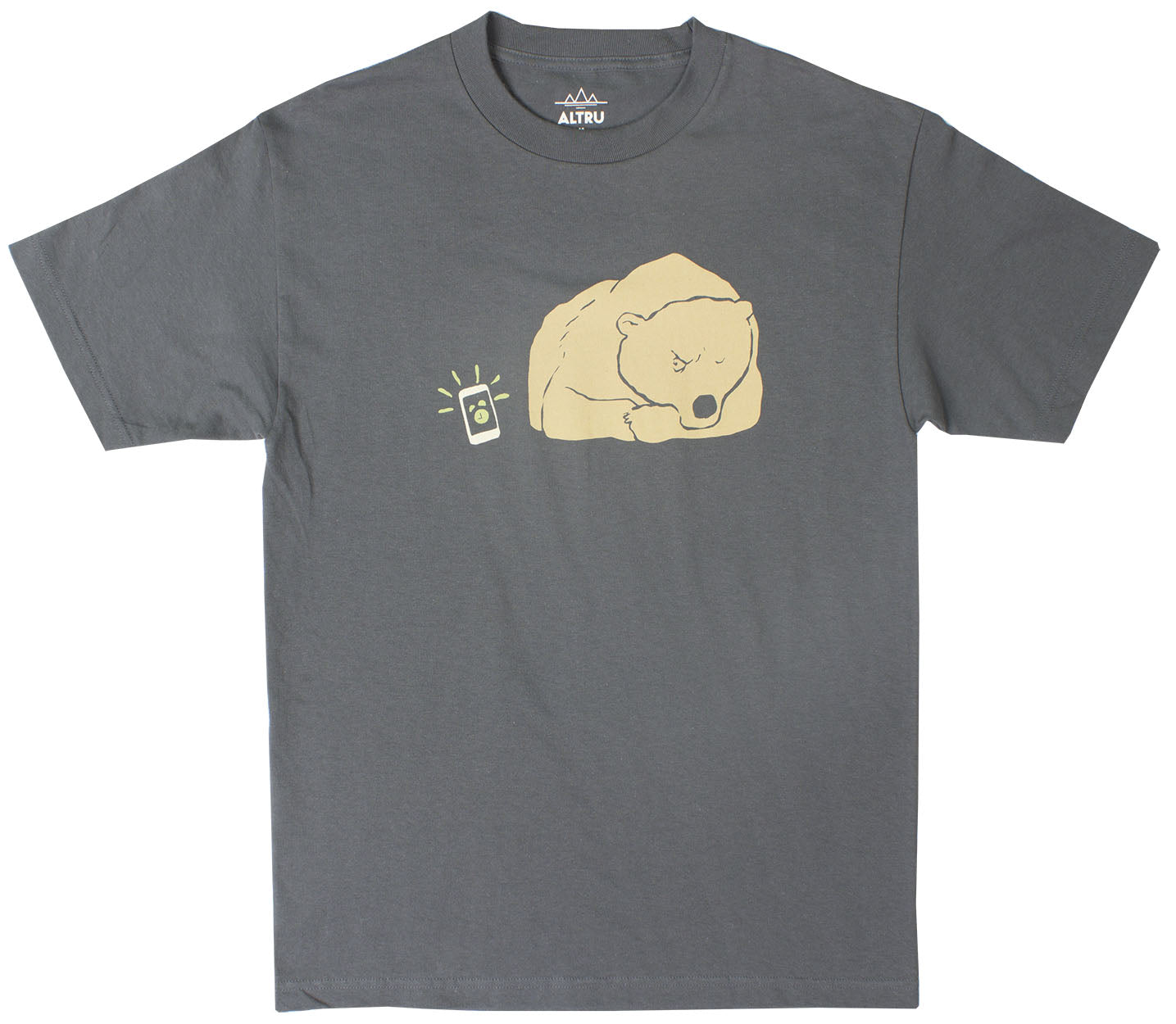 Bear Alarmed ready for the snooze slap charcoal graphic tee