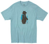 A bear hiking bare in a field screen printed on front of graphic tee
