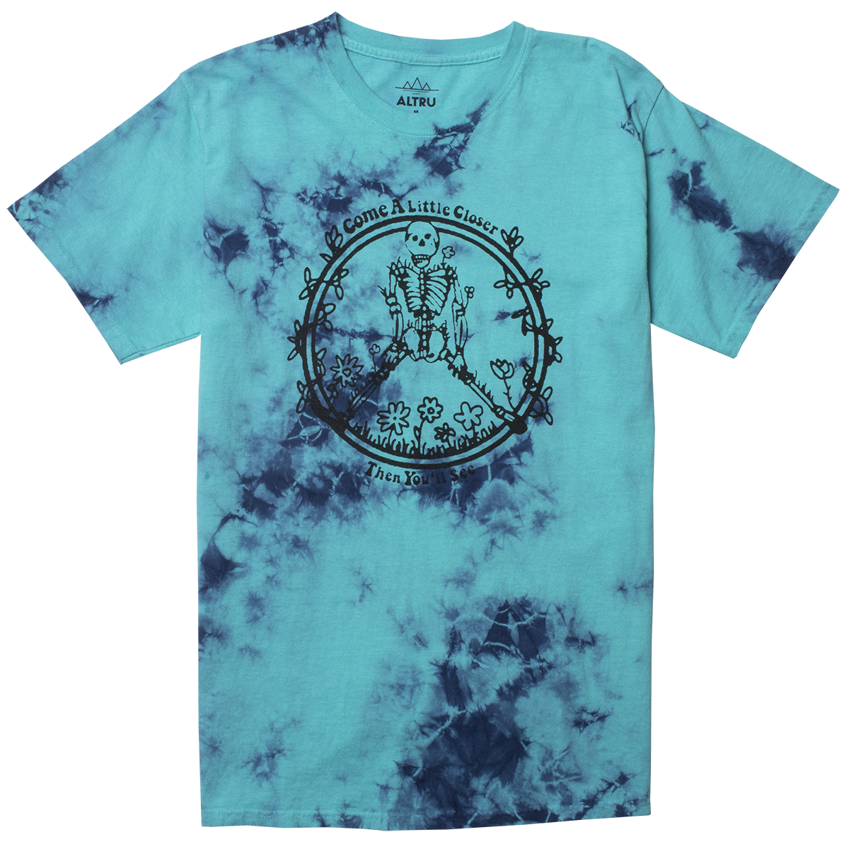 Come Close Skeleton marble dye graphic tee