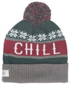 CHILL green and red knit cuff beanie with pom