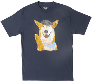 French Dog With Baguette navy graphic tee