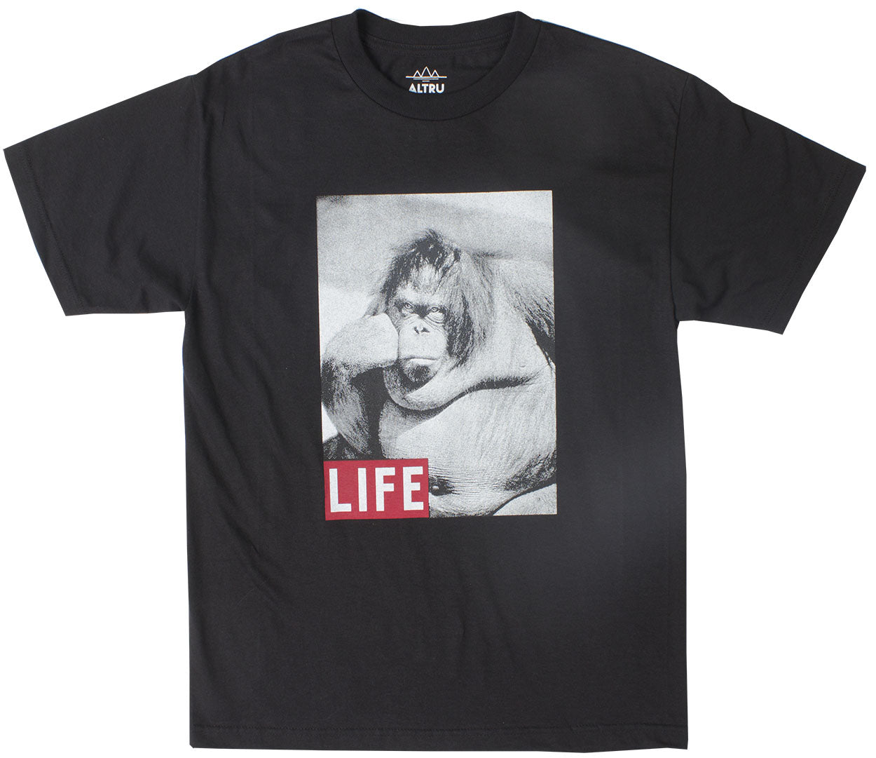 LIFE Ape The Thinker black graphic tee