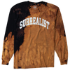 "Long Sleeve Men's Tee with ""SURREALIST"" printed on the chest of black shirt that has been bleached for effect."